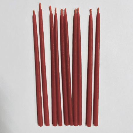 Набор  свечей  15 см восковых красных 10 шт