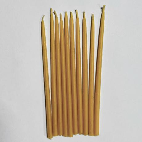 Набор свечей 15 см восковых желтых 10 шт