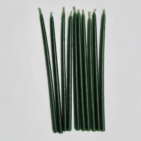 Набор свечей 15 см восковых зеленых 10 шт