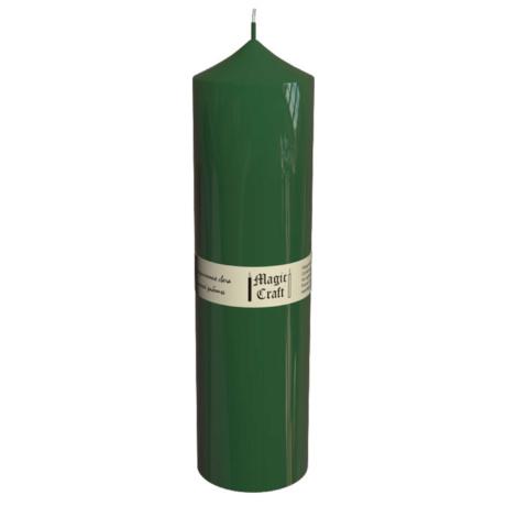 Свеча колонна 22 см зеленая